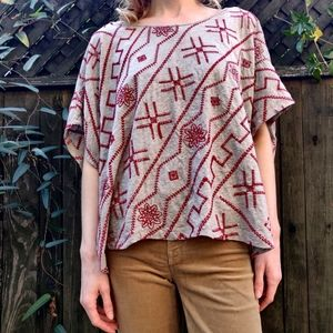 Johnny Was Flowy Caftan Boho Embroidered Top